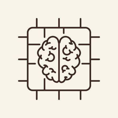 Artificial brain thin line icon. Processor, chip, microchip isolated outline sign. Artificial intelligence concept. Vector illustration symbol element for web design and apps