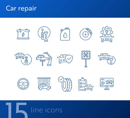 Car repair icons. Set of line icons. Oil, auto service sign, tyre. Car repair concept. Vector illustration can be used for topics like car service, business, advertising Ilustrace