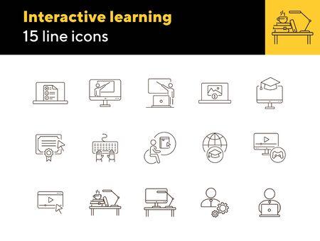 Conjunto de iconos de línea de aprendizaje interactivo. Curso, universidad, grado. Concepto de lección en línea. Se puede utilizar para temas como e-learning, seminarios, educación. Ilustración de vector