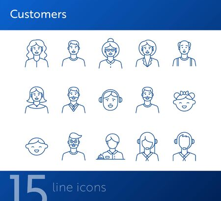 Customers icons. Set of line icons on white background. Call center operator, client, receptionist. People concept. Vector illustration can be used for topics like application, lifestyle, service 向量圖像
