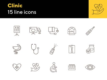 Clinic icons. Set of line icons. Stethoscope, nasal spray, x-ray, lab test tubes. Hospital concept. Vector illustration can be used for topics like healthcare, medicine, treatment Ilustração
