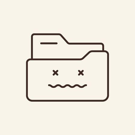 Delete folder thin line icon. Remove folder concept. Vector illustration symbol elements for web design and apps.