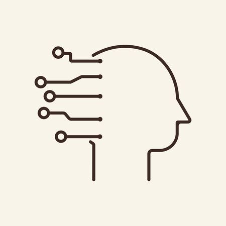 Cyber man thin line icon. Human head, AI, neural circuit isolated outline sign. Artificial intelligence concept. Vector illustration symbol element for web design and apps Illustration