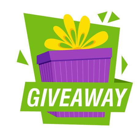 Giveaway bright banner template. Purple present and text on white background. Can be used for leaflets, brochures, announcements