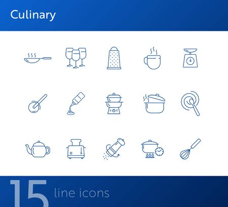 Culinary line icons. Set of line icons. Wine glasses, toaster, cooking pot. Cuisine concept. Vector illustration can be used for topics like restaurant business, cooking Reklamní fotografie - 138105803