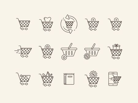 Shopping cart thin line icon set. Goods, mobile, discount sign pack. Shopping concept. Vector illustration symbol elements for web design and apps