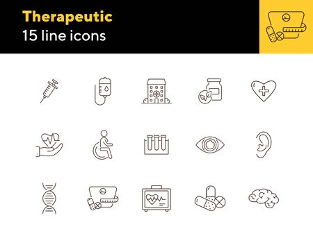 Therapeutic icons. Set of line icons. Laboratory research, heart in hand, injection. Medical exam concept. Vector illustration can be used for topics like medicine, healthcare, clinic Ilustração