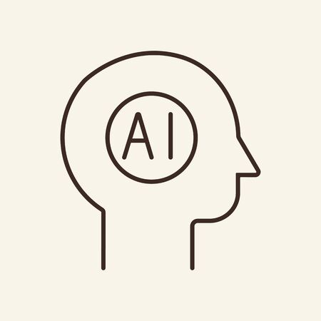 AI thin line icon. Person, human head, robot, machine isolated outline sign. Artificial intelligence concept. Vector illustration symbol element for web design and apps
