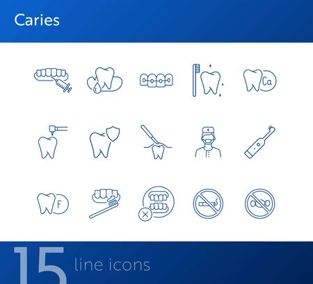 Caries icons. Set of line icons. Dentist, tooth, pain. Medicine concept. Vector illustration can be used for topics like stomatology, treatment, patient Illusztráció