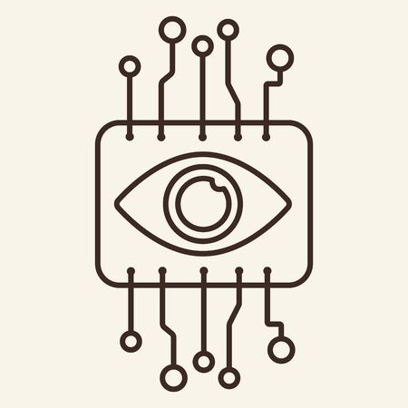 Cyber eye thin line icon. Brain, brainwork, circuit board isolated outline sign. Artificial intelligence concept. Vector illustration symbol element for web design and apps
