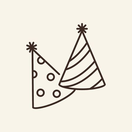 Party hats thin line icon. Birthday and party concept. Vector illustration symbol elements for web design and apps.