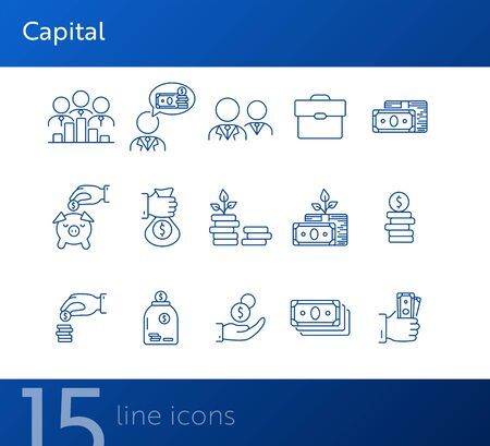 Capital icons. Line icons collection on white background. Piggy bank, investment, earning. Money concept. Vector illustration can be used for topic like business, finance, banking  イラスト・ベクター素材