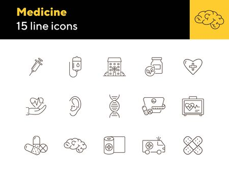 Medicine icons. Set of line icons. Human DNA, hospital building, blood infusion. Medical treatment concept. Vector illustration can be used for topics like medicine, healthcare, pharmacy