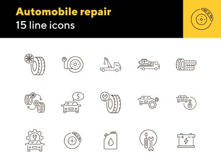 Automobile repair icons. Set of line icons. Oil, alarm, changing tyres. Car repair concept. Vector illustration can be used for topics like car service, business, advertising