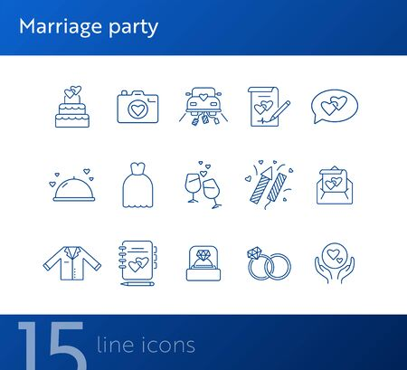 Marriage party line icons. Set of line icons. Wedding ring, just married car, balloons. Wedding concept. Vector illustration can be used for topics like marriage, family, love