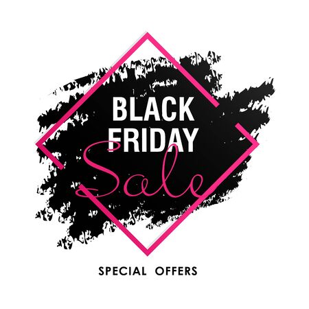 Black friday sale bright poster. Bright sticker on white background. Can be used for leaflets, brochures, announcements