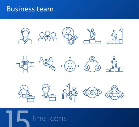 Business team icons. Line icons collection on white background. Meeting, cooperation, support. Company concept. Vector illustration can be used for topic like business, success, human resources Illustration