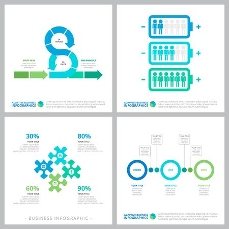 Set of business infographic diagrams. Can be used for workflow layout, annual report, presentation slide, web design. Business and accounting concept with percentage and process charts Illustration