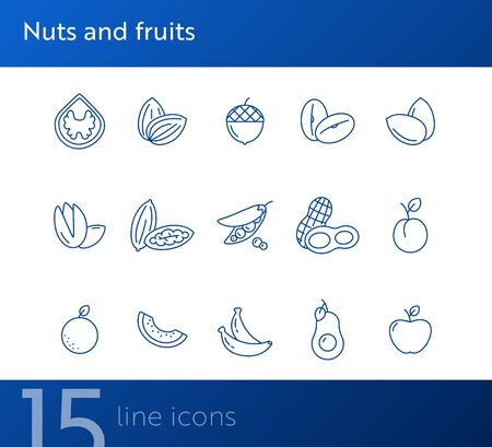 Nuts and fruits icons. Set of line icons on white background. Pea, acorn, pistachio. Vegetarian concept. Vector illustration can be used for topics like healthy eating, food, dieting Çizim