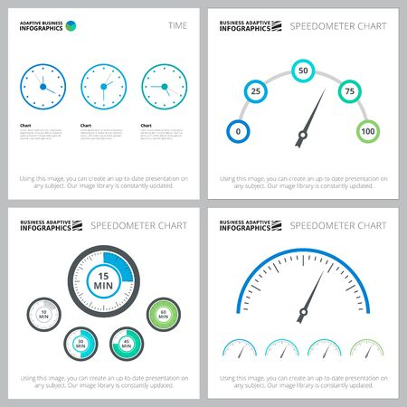 Speedometer infographic design set for analysis, workflow layout, presentation slide template. Startup, business and research concepts with metaphor charts and time diagram