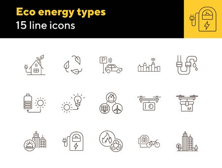 Eco energy types icons. Set of line icons. Sun and bulb, leaves, city alarm. Alternative energy concept. Vector illustration can be used for topics like environment, ecology, technology Illusztráció