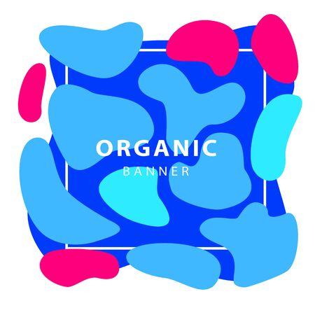Pink and blue irregular shapes. Dynamical forms, flowing liquid shapes, wavy line. Template , flyer or presentation. Vector illustration 向量圖像