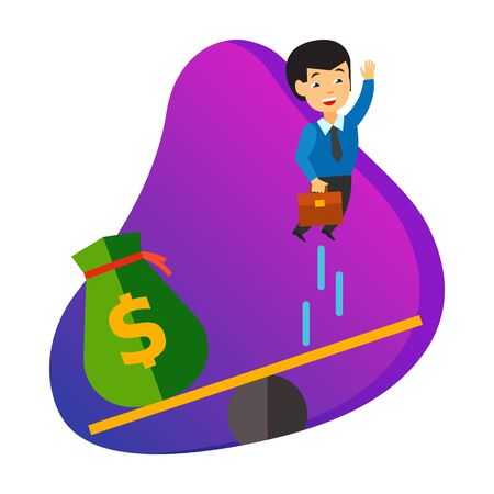 Business startup icon. Bag of money launching businessman from see saw isolated sign. Business, project launch, investment concept. Vector illustration symbol element for web design