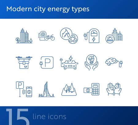 Modern city energy types icons. Set of line icons. Hands holding plant, electro car, bike rent. Alternative energy concept. Vector illustration can be used for topics like environment, ecology Stock fotó - 138087548