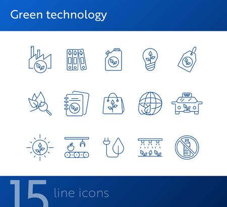 Green technology line icons. Set of line icons. Plant, recycling, taxi. Eco technology concept. Vector illustration can be used for topics like ecology, technology, environment Illusztráció