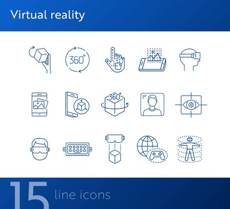 Virtual reality icon set. Cube in hand, man in VR glasses, eye scanner. Virtual reality concept. Vector illustration can be used for topics like VR, modern technologies, inventions