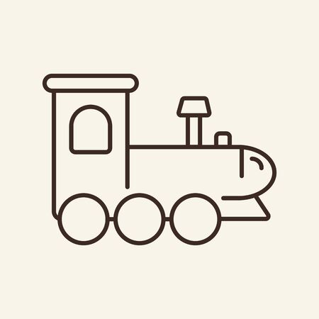 Locomotive toy contour. Game. Education concept. Flat vector. Thin line icon. Illustration can be used for web design, printing, advertising, decoration