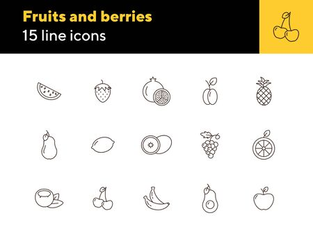 Fruits and berries icons. Set of line icons on white background. Watermelon, peach, strawberry. Healthy eating concept. Vector illustration can be used for topics like food, dieting, vegetarian eating