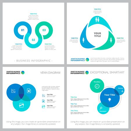 Set of statistics or strategy concept infographic charts. Can be used for workflow layout, annual report, presentation slide, web design. Business concept with venn charts