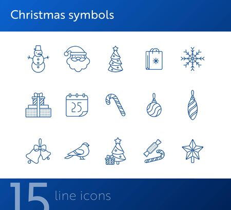 Christmas symbols thin line icon set. Candy cane, snowflake, bauble sign pack. Winter holidays concept. Vector illustration symbol elements for web design and apps 일러스트
