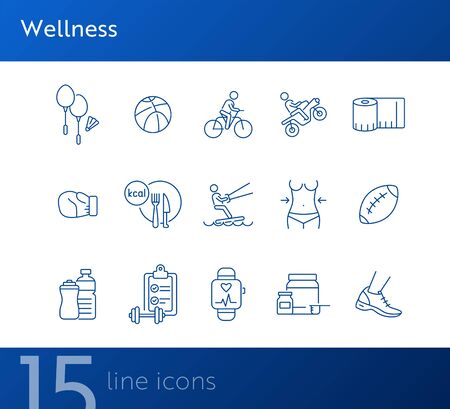 Wellness line icon set. Equipment, sport, supplement. Physical activity concept. Can be used for topics like slimming, exercising, recreation 일러스트