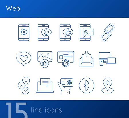 Web icons. Set of line icons. Link, best location, connection, speed. Internet concept. Vector illustration can be used for topics like connection, networking, feedback