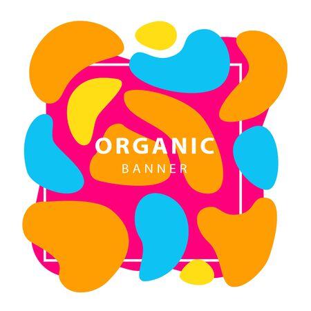 Orange, blue and pink irregular shapes. Dynamical forms, flowing liquid shapes, wavy line. Template, flyer or presentation. Vector illustration