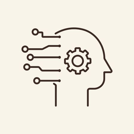 Engineer mind thin line icon. Gear, head, AI, neural circuit isolated outline sign. Artificial intelligence concept. Vector illustration symbol element for web design and apps
