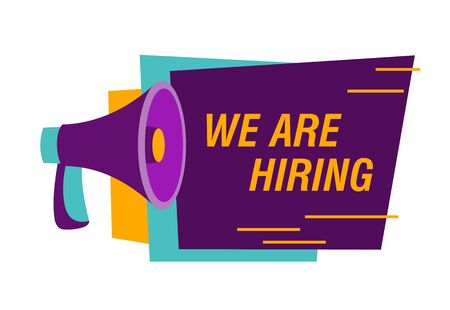 We are hiring advertisement design. Recruitment agency, employment service. Text and purple loudspeaker on white background. Can be used for leaflets, brochures, announcements Stock Illustratie