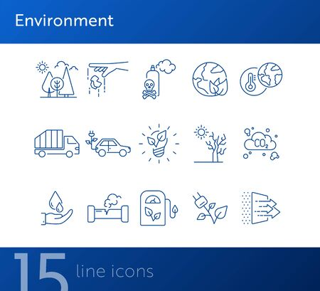 Environment line icons. Set of line icons. CO2 emission, forest. Ecology concept. Vector illustration can be used for topics like nature, environment protection