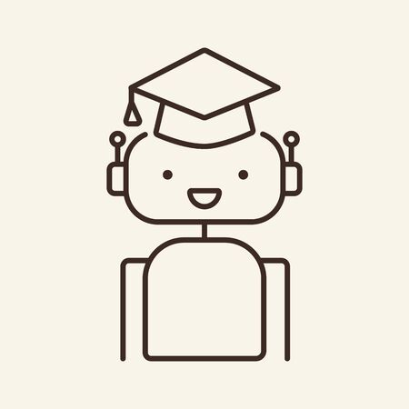 Learning robot thin line icon. Bot wearing graduation hat, machine learning isolated outline sign. Artificial intelligence concept. Vector illustration symbol element for web design and apps