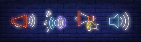 Sound amplifier neon sign set. Speaker, loudspeaker, megaphone. Vector illustration in neon style, bright banner for topics like announcement, music, speech Ilustração