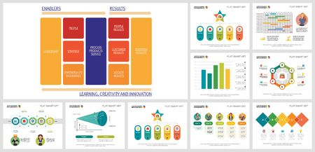 Vivid infographics layout set for report template, annual statistics, presentation, site design. Business and development concept with process diagram, area, bar, and percentage charts.