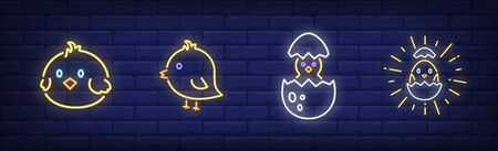 Easter chicken neon sign set. Baby bird, egg shell, symbol. Vector illustration in neon style, bright banner for topics like tradition, spring, celebration