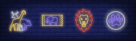 Circus with animals neon sign set. Ticket, lion, bear, elephant. Vector illustration in neon style, bright banner for topics like performance, entertainment, zoo Illustration