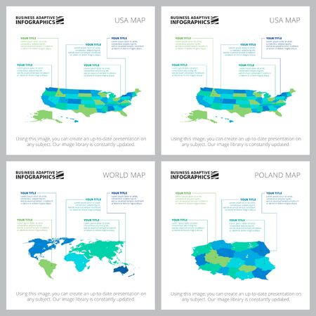 Set of creative business infographic diagrams with maps. Can be used for workflow layout, annual report, presentation slide, web design. Business and accounting concept with country maps