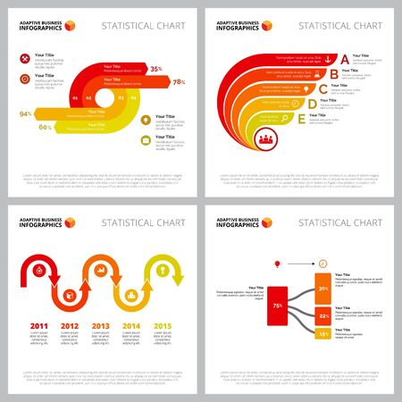 Creative infographic outline set can be used for web design, presentation slide, marketing report. Business concept with process, flow, timing charts