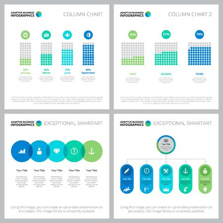 Creative diagram design set for workflow template, annual analysis, presentation, web page. Business and development concept with bar diagram, percentage and flow charts
