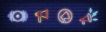 Speaker neon sign set. Loudspeaker, sound, megaphone, lightning. Vector illustration in neon style, bright banner for topics like announcement, advertisement, protest