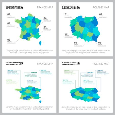 Creative infographics set for statistical report, presentation slide template, web design, business project. Statistics and geography concept. Country, map, area charts